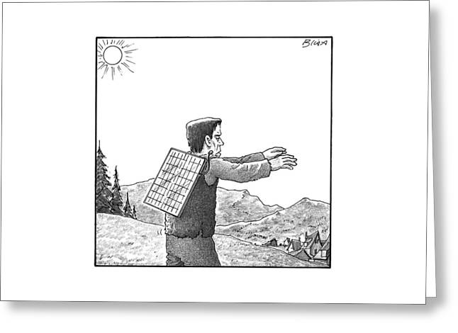 Frankenstein's Monster Walks With A Solar Panel Greeting Card