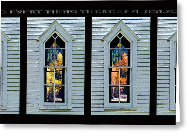 Frankford Church Window In Four Seasons Greeting Card by Robert J Sadler