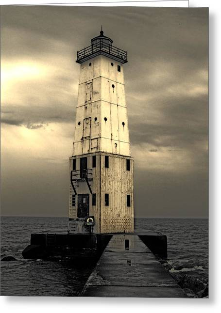 Frankfort North Breakwater Greeting Card by Michelle Calkins
