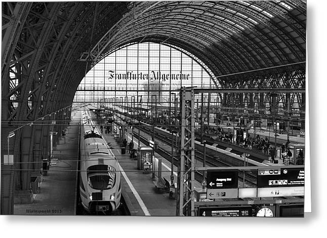 Frankfurt Bahnhof Greeting Card by Miguel Winterpacht