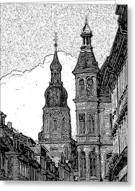 Frankfurt Clock Tower - Black And White Greeting Card