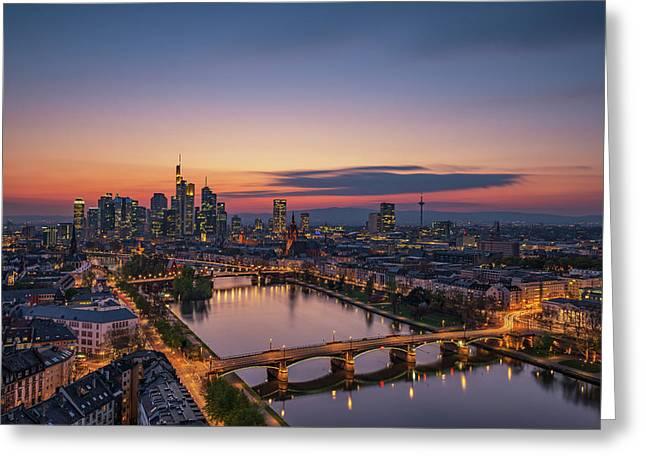 Frankfurt Skyline At Sunset Greeting Card