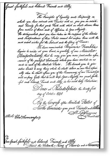 Franklin Credentials, 1778 Greeting Card by Granger