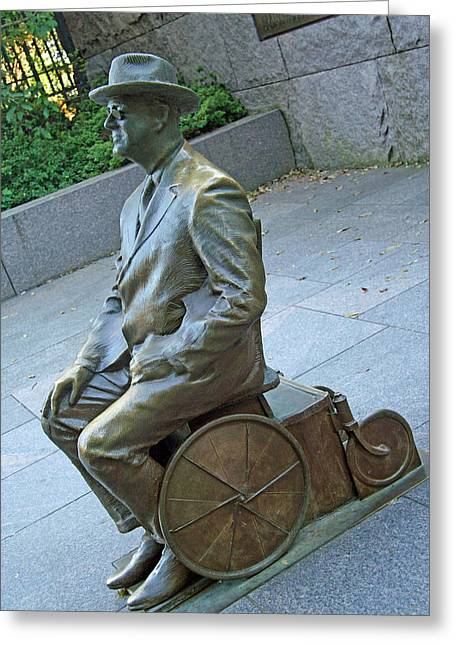 Franklin Delano Roosevelt In A Wheelchair Greeting Card by Cora Wandel