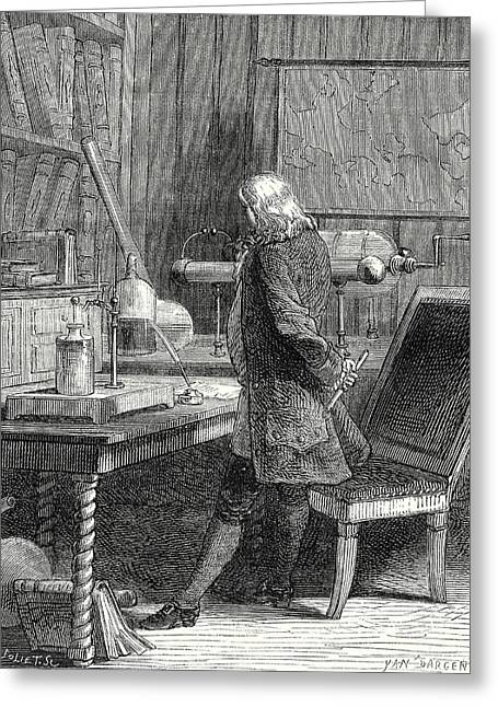 Franklin In His Laboratory Of Physics In Philadelphia Greeting Card
