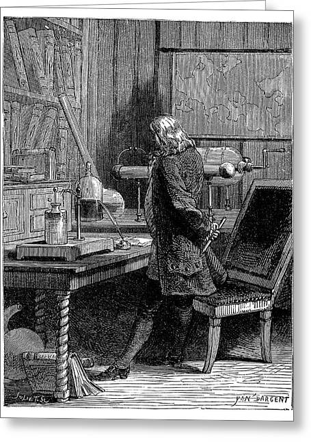 Franklin In His Laboratory Greeting Card by Science Photo Library