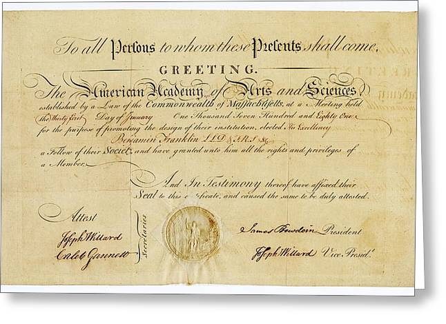 Franklin Membership Certificate Greeting Card by American Philosophical Society