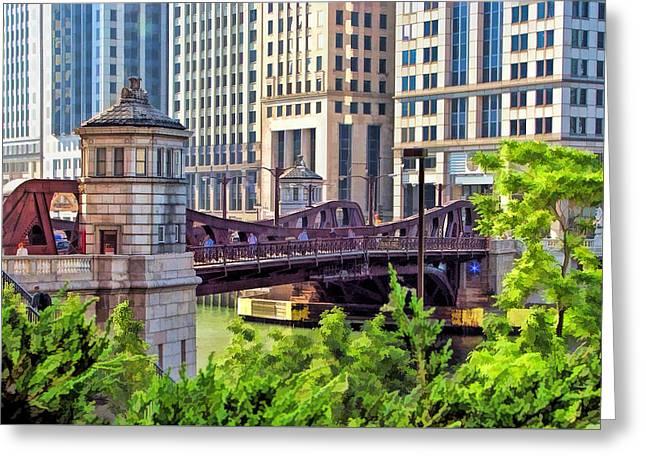 Chicago Franklin Street Bridge Greeting Card