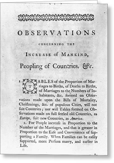 Franklin Title Page, 1751 Greeting Card