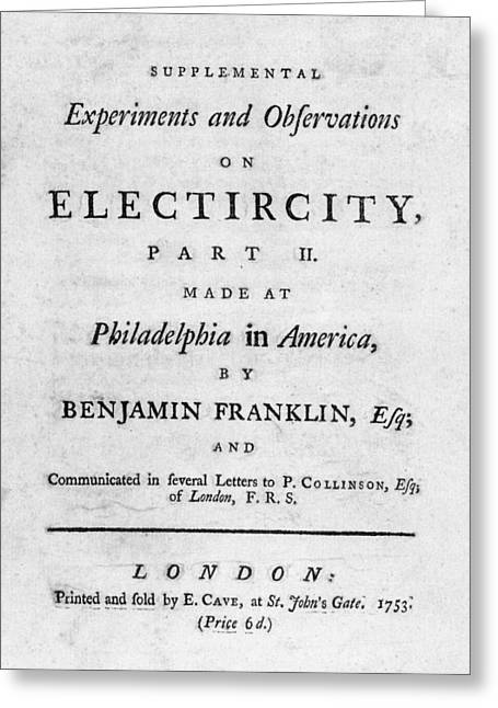 Franklin Title Page, 1753 Greeting Card