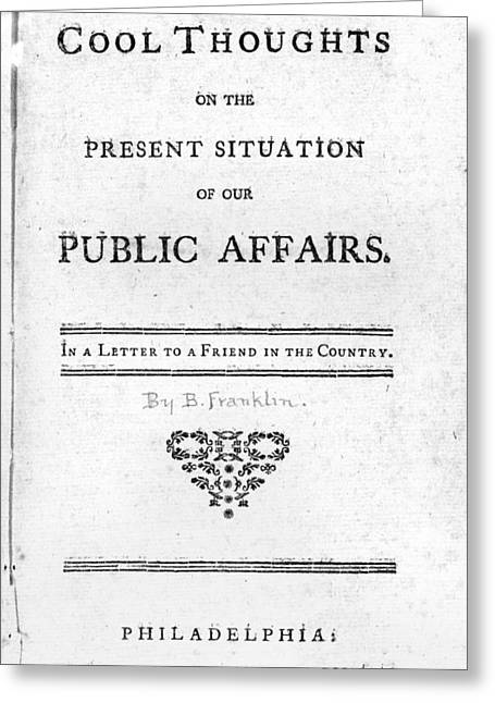 Franklin Title Page, 1764 Greeting Card