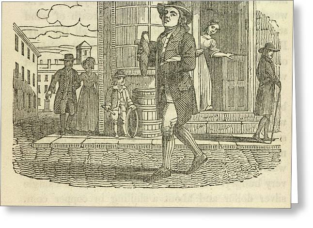 Franklin Walking In Philadelphia Greeting Card by British Library