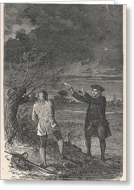 Franklin's Experiment With A Kite Greeting Card