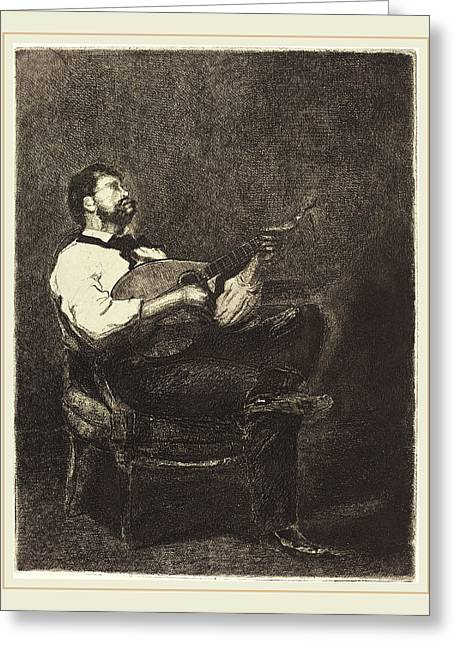 François Bonvin French, 1817-1887, Guitar Player Joueur De Greeting Card