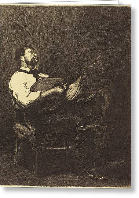 François Bonvin French, 1817 - 1887, Guitar Player Joueur Greeting Card by Quint Lox