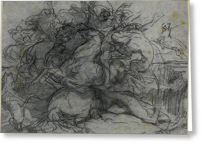 François-nicolas Chifflart, Study For Surprise Battle Greeting Card