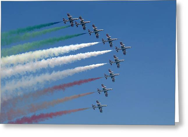 Frecce Tricolori Greeting Card by Marc Fontannaz