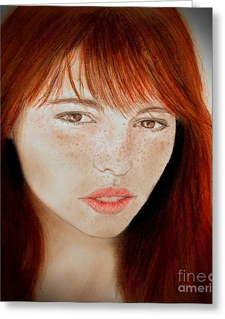 Freckle Faced Beauty II Greeting Card by Jim Fitzpatrick
