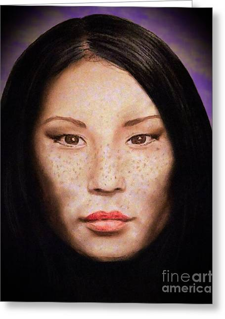 Freckle Faced Beauty Lucy Liu  IIi Altered Version Greeting Card by Jim Fitzpatrick