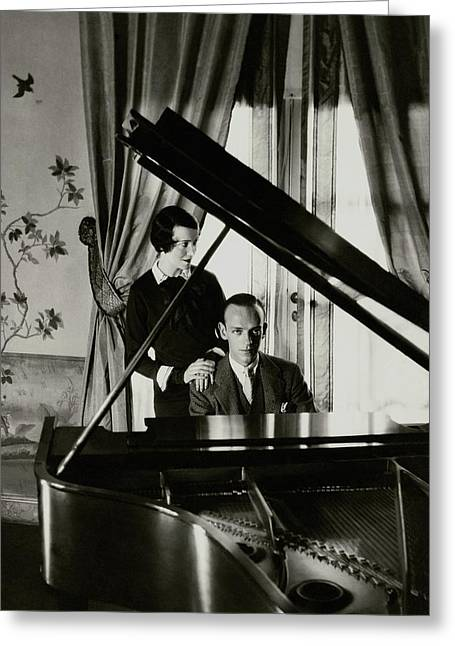 Fred And Adele Astaire At A Piano Greeting Card by Cecil Beaton