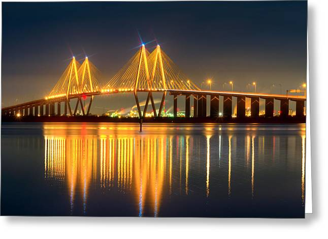 Fred Hartman Bridge At Night Greeting Card