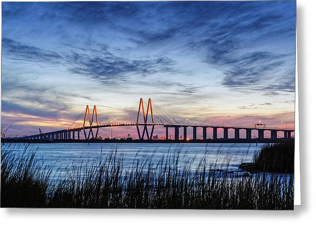 Fred Hartman Bridge At Twilight Hour Greeting Card