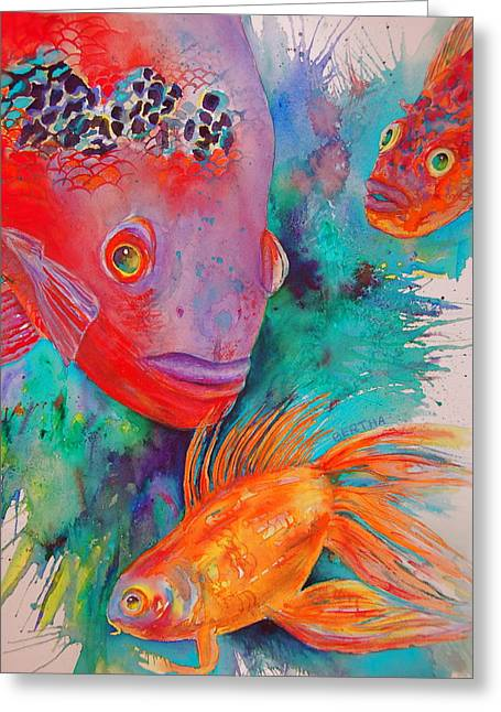 Greeting Card featuring the painting Freddy Fish And Friends by Karen bertha Calderon