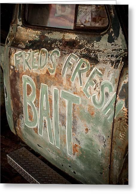 Freds Fresh Bait Greeting Card by Paul Bartoszek