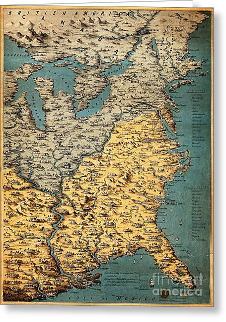 Free And Slave States Of America, C Greeting Card