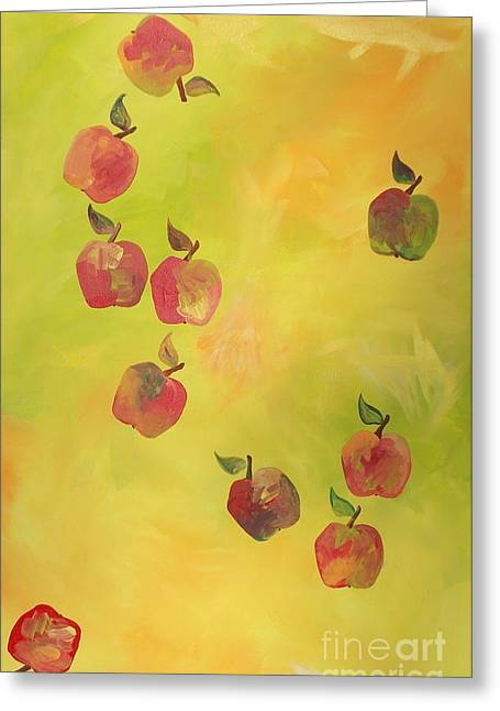 Greeting Card featuring the painting Free Apples by PainterArtist FIN