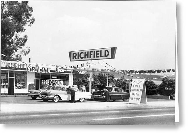 Free Chicken With Gas Fill-up Greeting Card by Underwood Archives