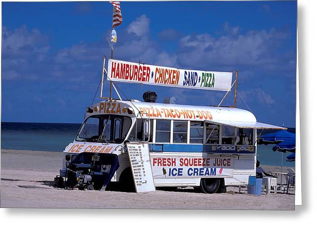 Free Enterprise On Florida Beach Greeting Card by Carl Purcell
