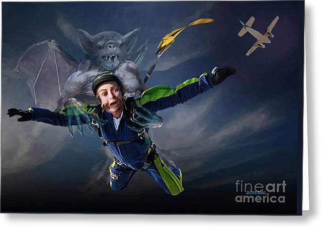 Free Fall Into Darkness Greeting Card by Joseph Juvenal