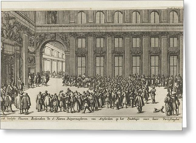 Freed Slaves To Thank The Mayors Of Amsterdam Greeting Card by Jan Luyken And Jan Claesz Ten Hoorn