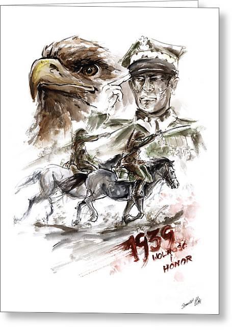Freedom And Honour. Greeting Card by Mariusz Szmerdt