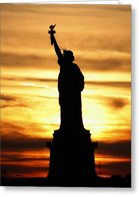 Statue Of Liberty Silhouette Greeting Card by Bob Slitzan