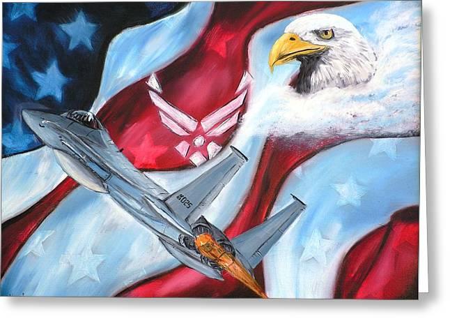 Freedom Eagles Greeting Card by Dan Harshman