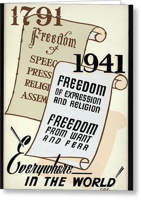 Freedom Everywhere In The World Greeting Card by Daniel Hagerman
