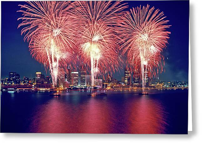 Freedom Fest Fireworks At Night Greeting Card