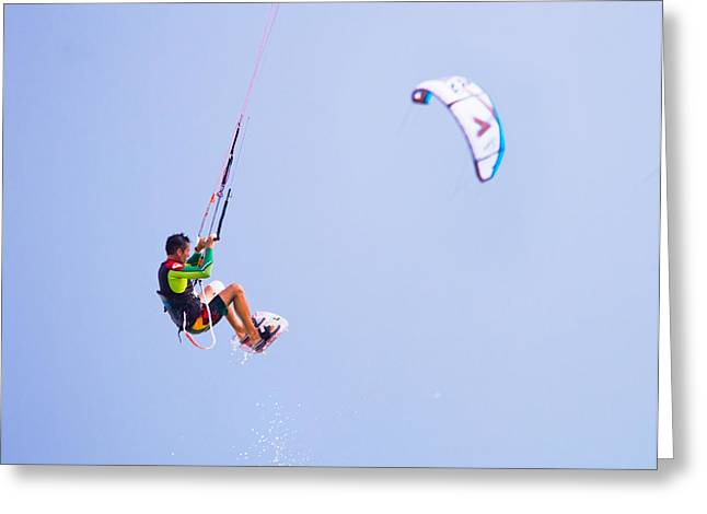 Freedom  Miami Beach Kitesurfing Greeting Card by Mr Bennett Kent