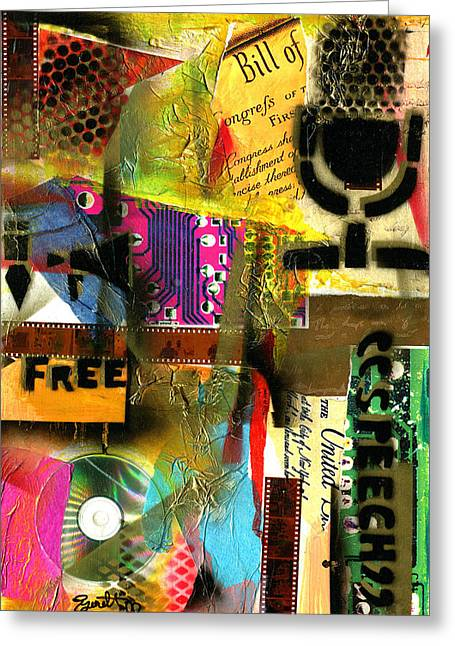 Freedom Of Speech 10 Greeting Card by Everett Spruill