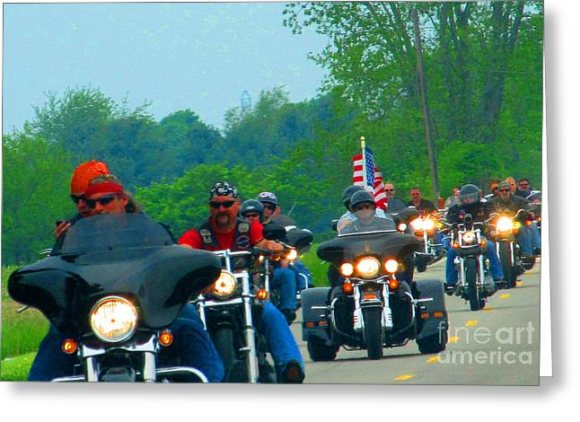 Freedom Riders Having So Much Fun Greeting Card by Tina M Wenger