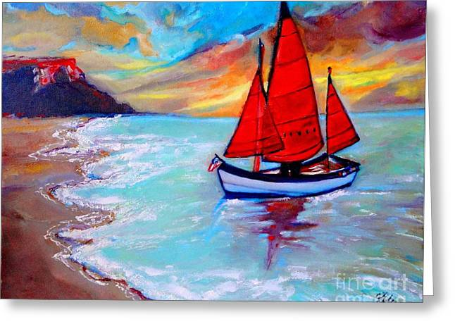 Freedom Sails Greeting Card by Helena Bebirian