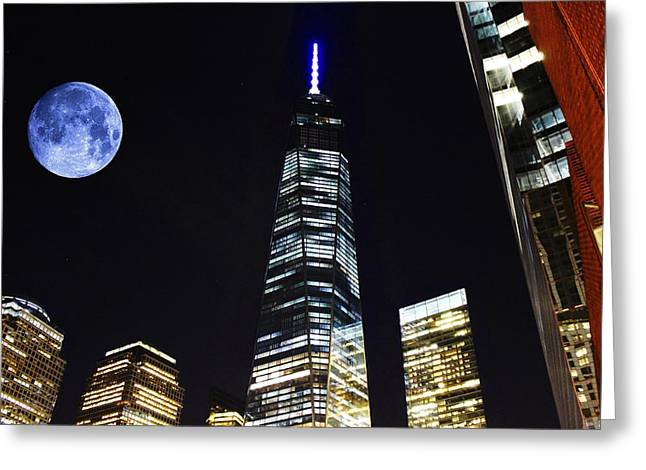 Freedom Tower And Blue Moon Greeting Card