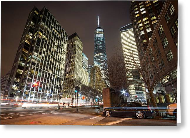 Freedom Tower And Surrounding Buildings Greeting Card by Daniel Portalatin