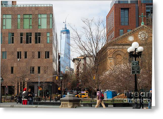Freedom Tower From Washington Square Greeting Card by Thomas Marchessault