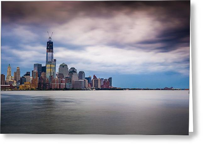 Freedom Tower Over The Hudson Greeting Card by Chris Halford