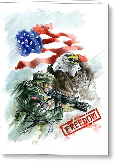 Freedom Usarmy Greeting Card by Mariusz Szmerdt