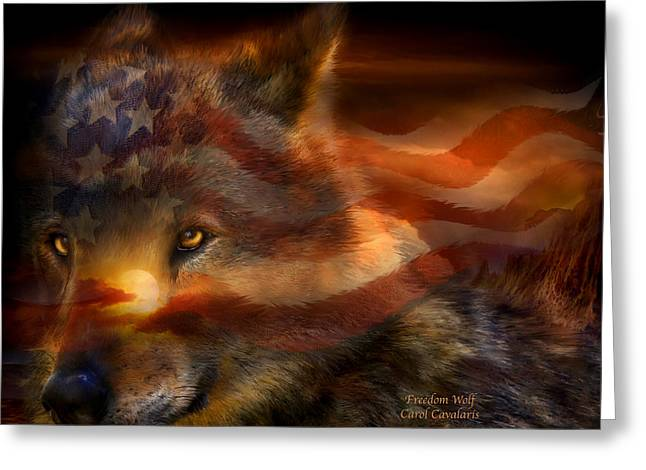 Freedom Wolf Greeting Card by Carol Cavalaris