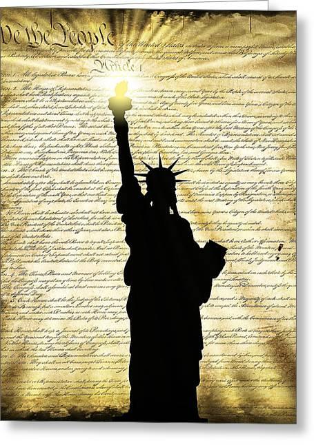 Freedoms Light Greeting Card by Daniel Hagerman
